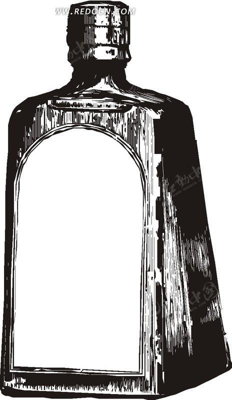手绘玻璃红酒瓶矢量素材