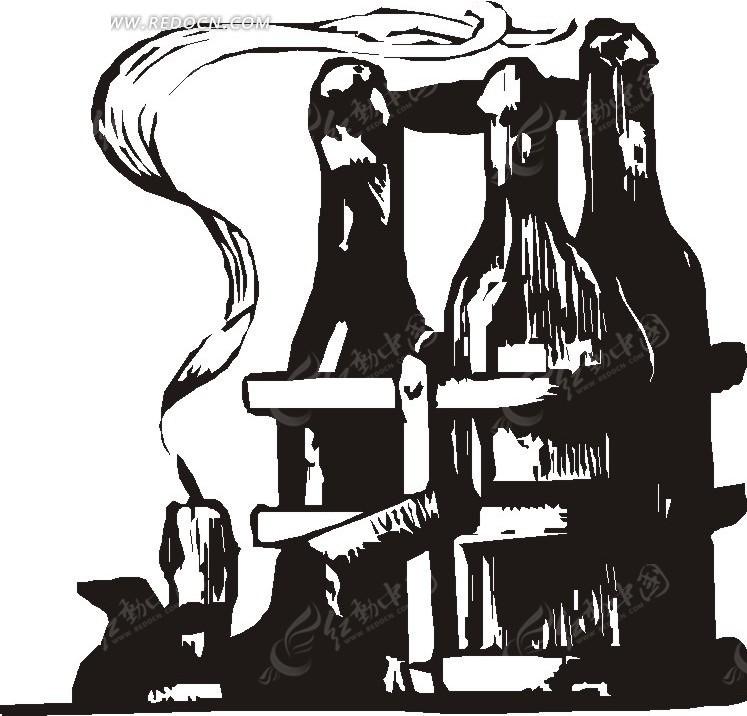 手绘黑色红酒瓶插画矢量图
