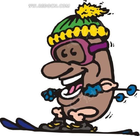 滑雪的卡通人豆