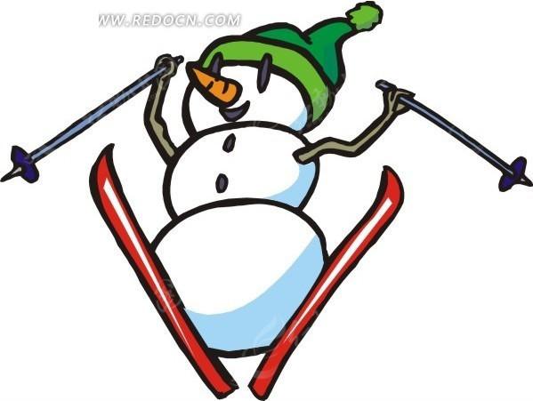 手绘滑雪的雪人矢量图