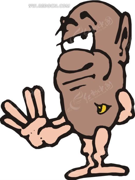 伸出手掌的卡通人豆