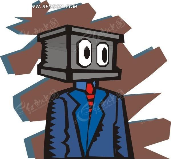 穿西装的盒子矢量图_卡通形象
