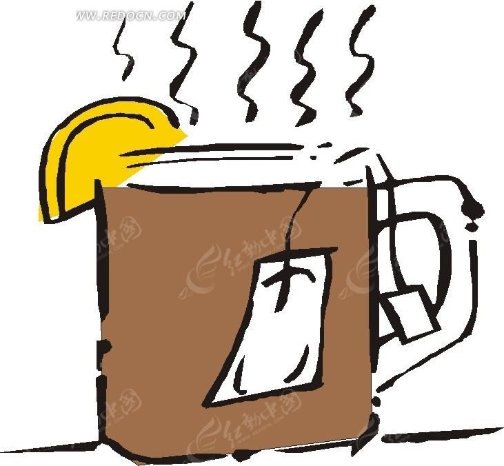 手绘一杯散发热气的茶