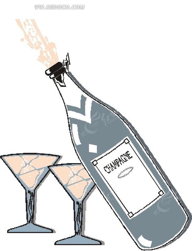 手绘红酒瓶和高脚玻璃杯