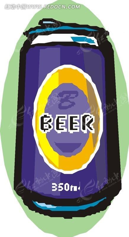 一罐啤酒手绘素材矢量图_生活用品