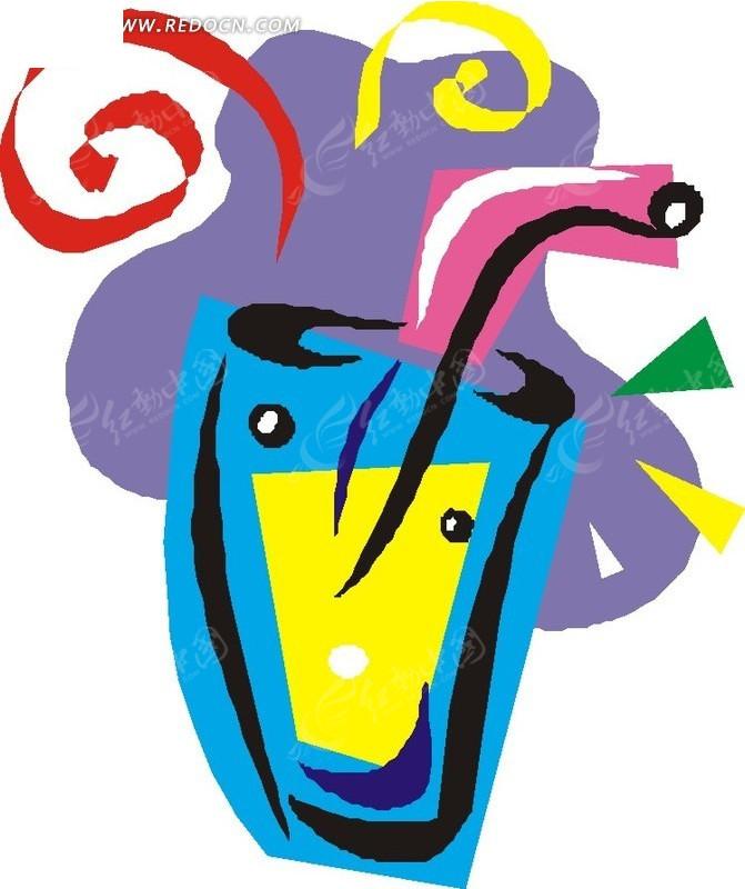饮料 玻璃杯 杯子 果汁 卡通画 插画 手绘 矢量素材 生活用品 生活