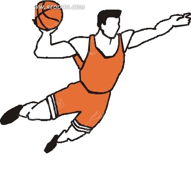 手绘篮球飞人图片