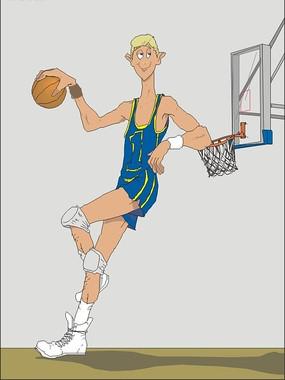 卡通篮球运动员手绘画