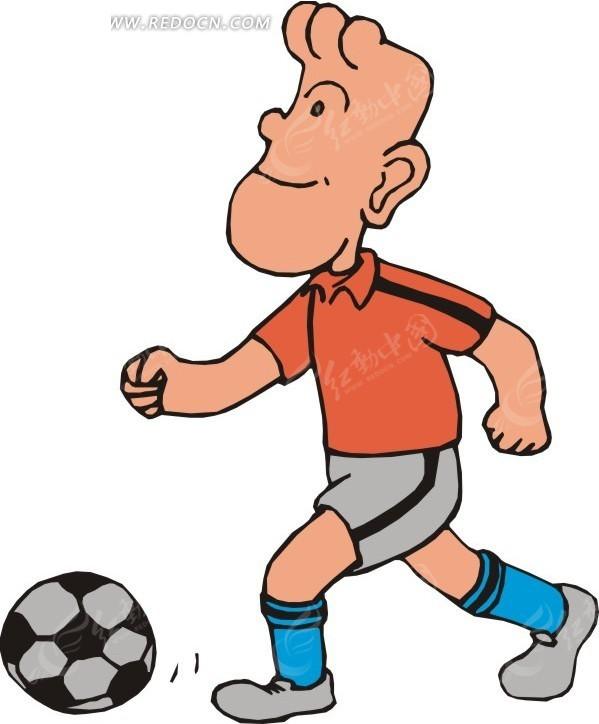 踢足球的卡通人物