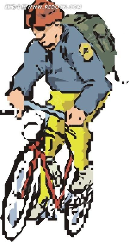 骑自行车的卡通人物EPS素材免费下载 编号1749581 红动网图片
