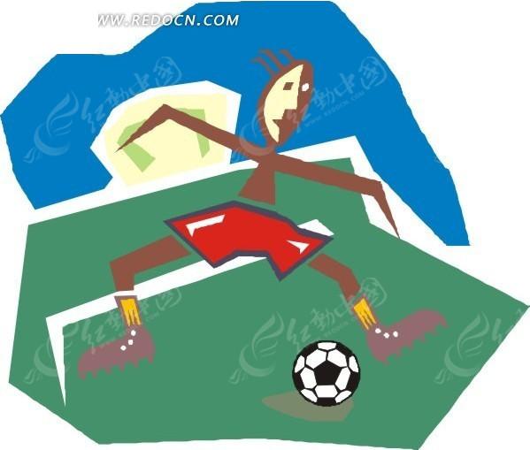手绘卡通踢足球