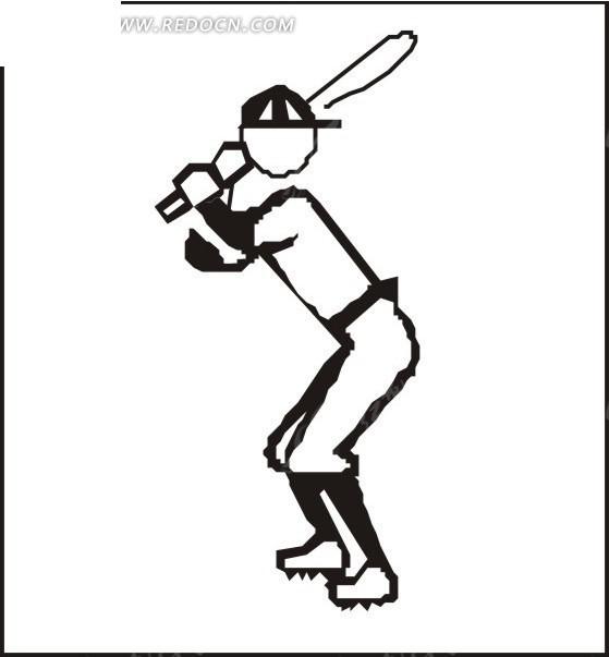 线描棒球运动员