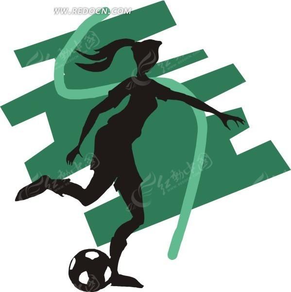 手绘踢足球的长发女人