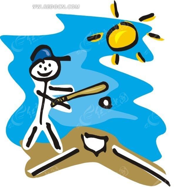 儿童手绘打棒球矢量图_体育运动
