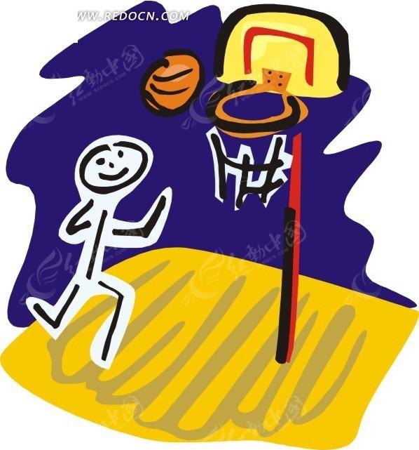 儿童手绘打篮球
