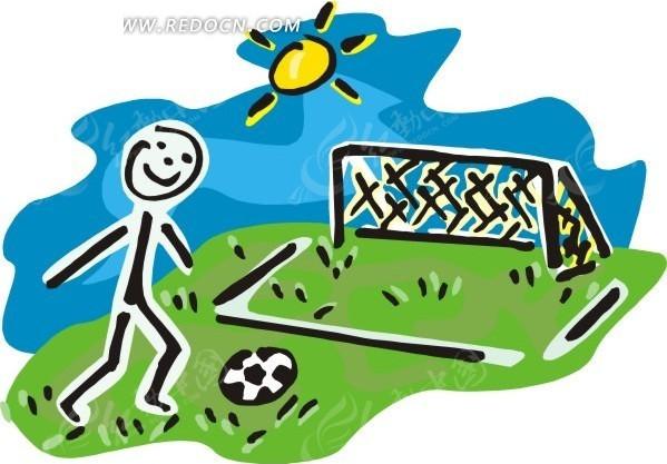 儿童手绘踢足球