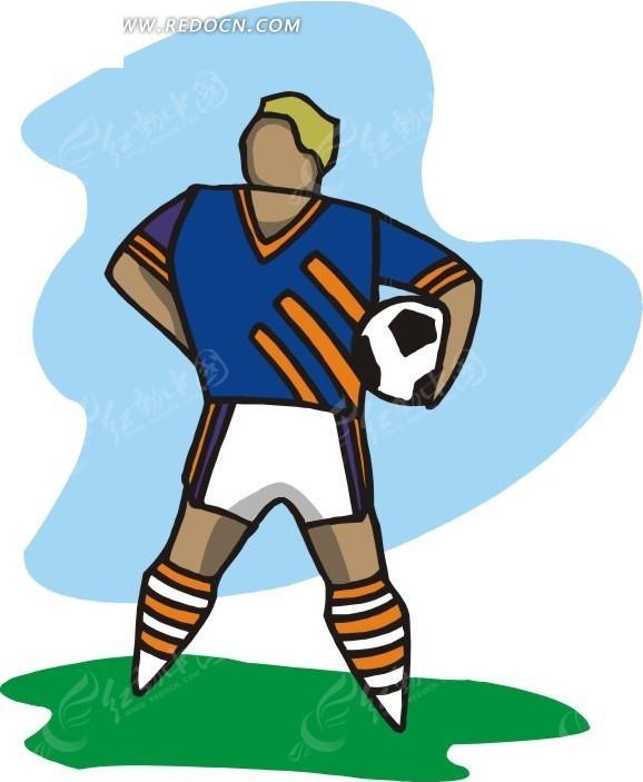 足球运动员卡通插画eps素材免费下载_红动网