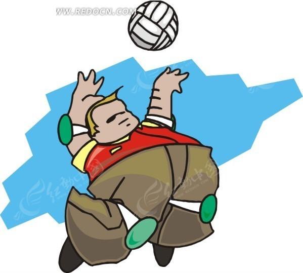 蓝天下打排球卡通插画图片 高清图片