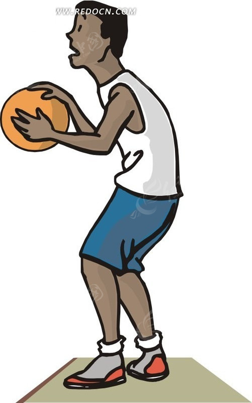 打篮球卡通矢量插画