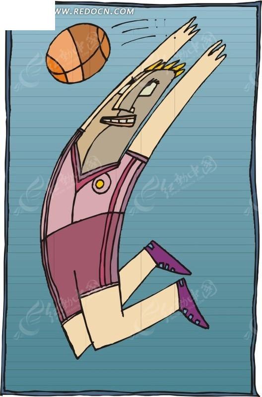 手绘体育运动-篮球盖帽