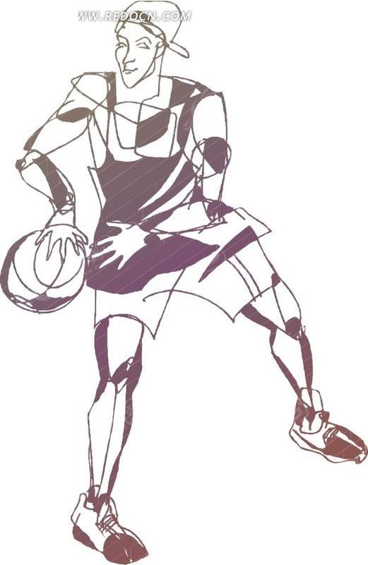 手绘体育运动-篮球运动员