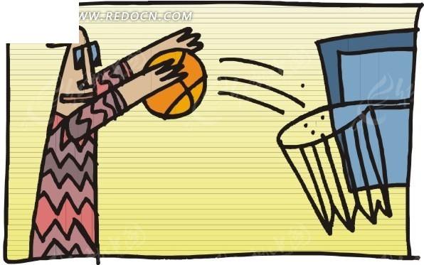手绘体育运动-篮球投篮