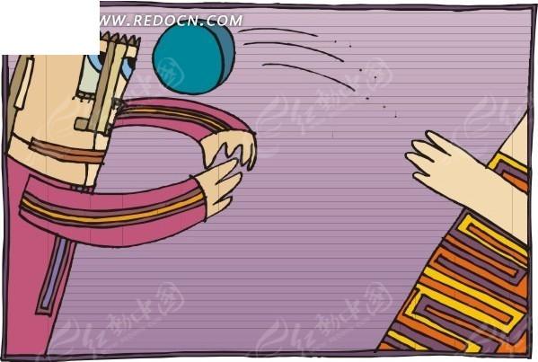 手绘体育运动 打排球图片