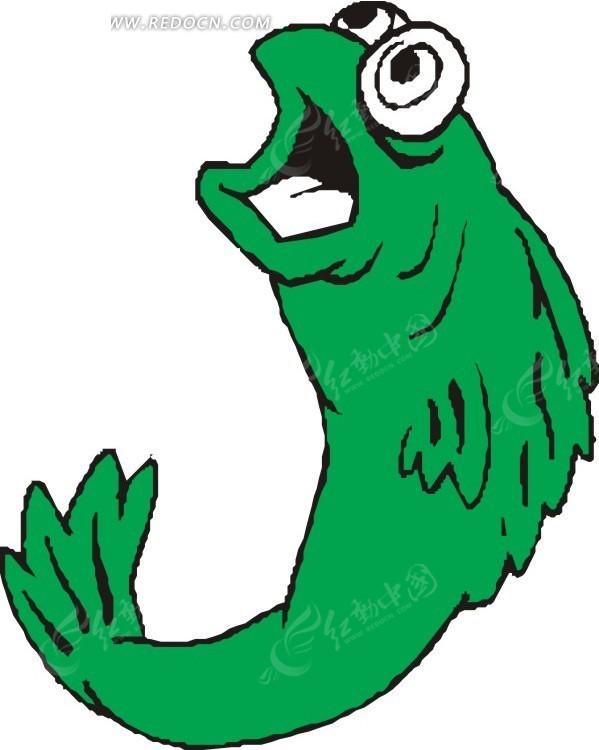 张嘴的绿色鱼矢量图_水中动物