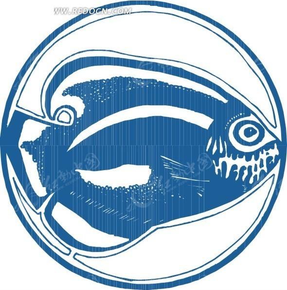 手绘蓝色的鱼