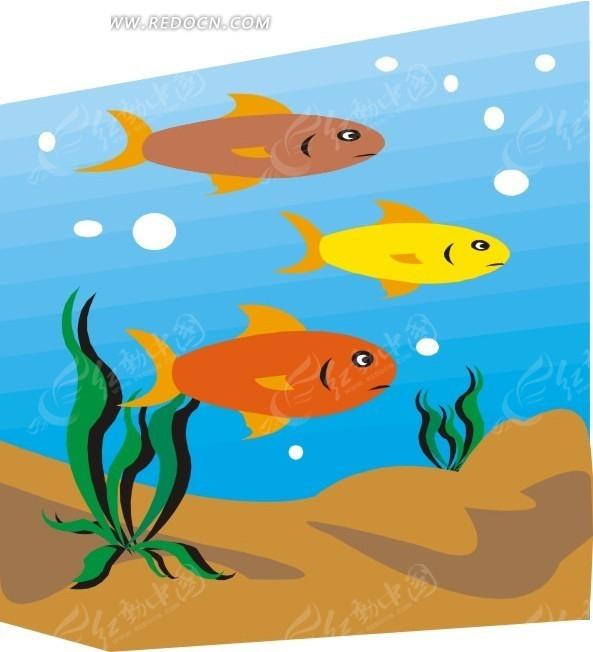 三条鱼矢量图_水中动物