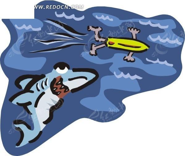 手绘水下潜伏的鲨鱼