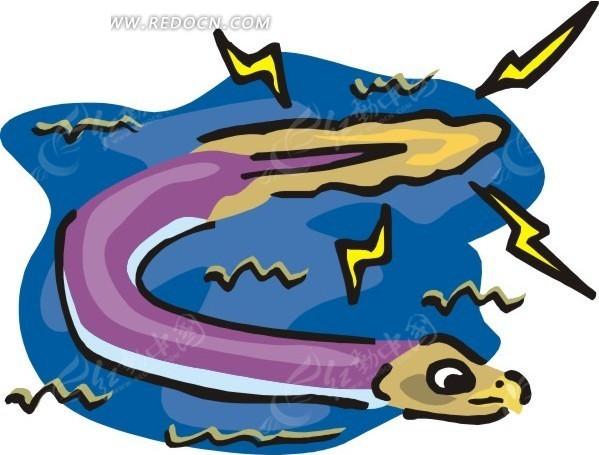 手绘一只放电的鳗鱼