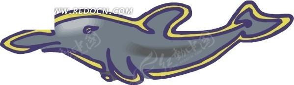 儿童手绘一只小海豚