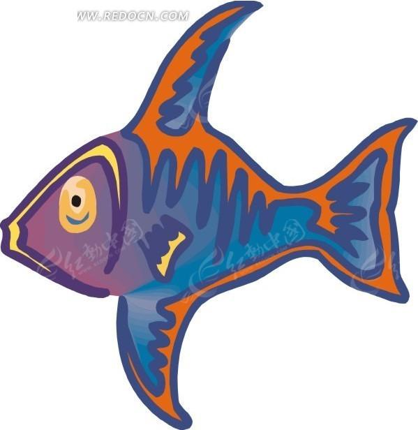 儿童手绘插画蓝色小鱼