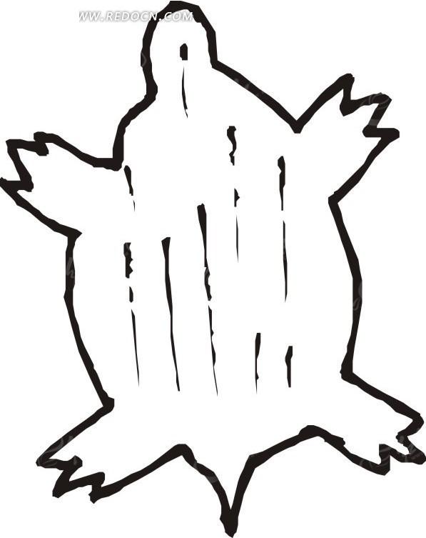 免费素材 矢量素材 生物世界 水中动物 手绘线描乌龟图案