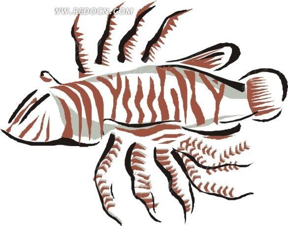 手绘一只狮子鱼