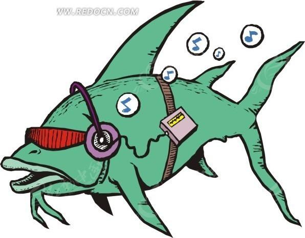 听音乐的鱼矢量图_水中动物