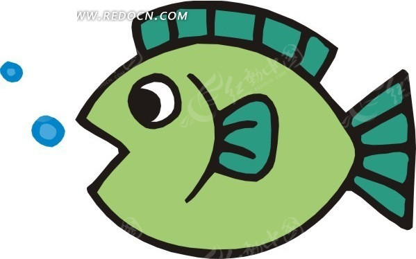 手绘绿色小鱼