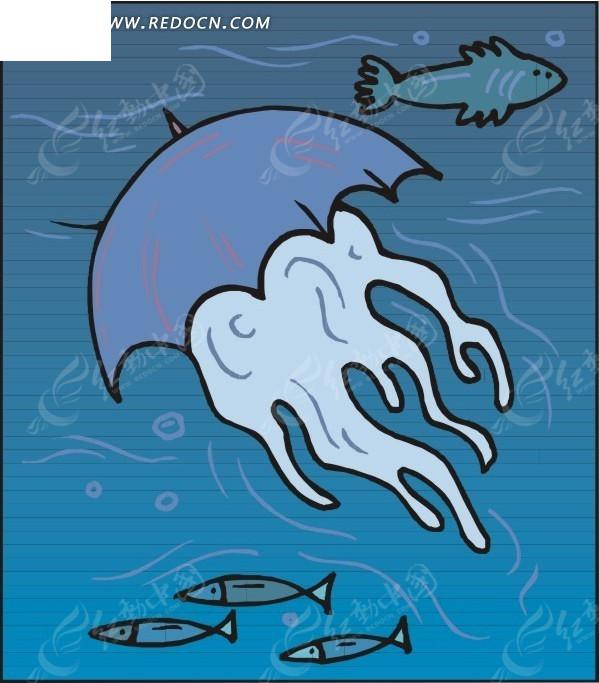 鱼 水母 卡通画 插画 手绘 矢量素材 动物图片 卡通形象 动物
