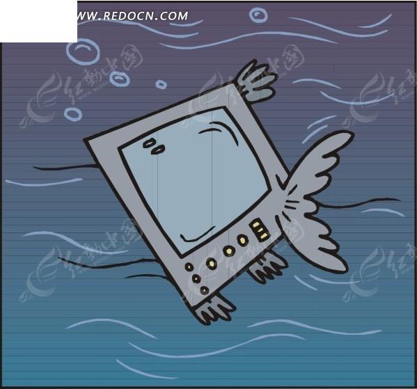 手绘电视机身子的鱼