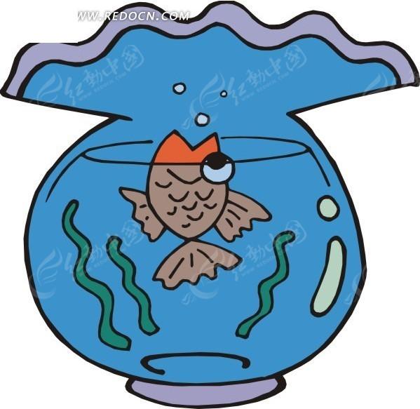 关键词:鱼缸金鱼手绘插画卡通画; 鱼缸里的金鱼 -水中动物矢量图下载