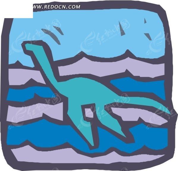 手绘图案海中的蛇颈龙