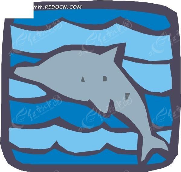 手绘图案一只海豚