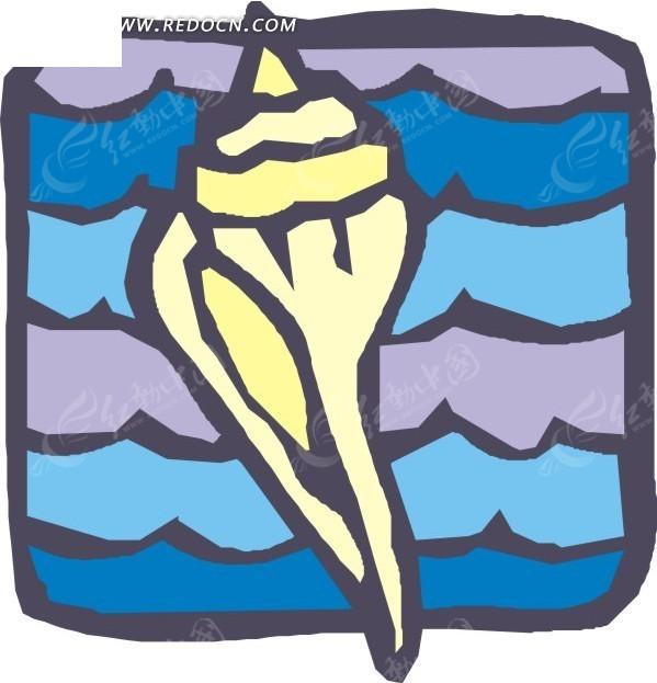 手绘黄色的海螺图案