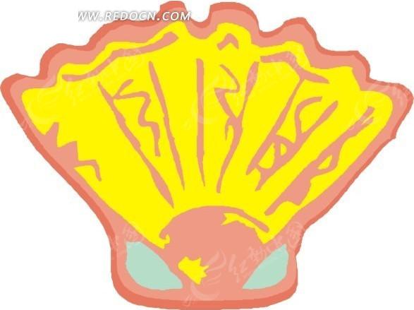 手绘插画黄色的海贝壳