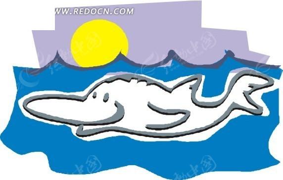 手绘儿童简笔画海面下的鲨鱼eps素材免费下载(编号)
