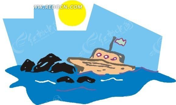 手绘海上航行的小船和海豚