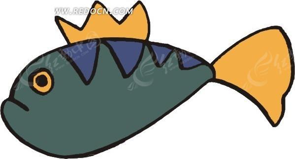 儿童手绘黄色背鳍和尾巴的小鱼矢量图_水中动物