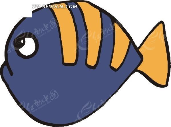 儿童手绘一条橙色纹理的小鱼; 关键词:鱼卡通画;; 卡通小鱼图片大全