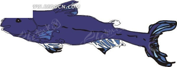手绘插画深蓝色的鱼